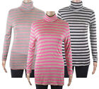 Monsoon Striped Roll Neck Long Sleeve Womens T-Shirt Tops Pink Black Grey Stripe