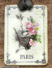 Hang Tags  FRENCH PARIS PINK ROSE BIRD NEST TAGS or MAGNET #571   Gift Tags
