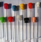 Clear plastic test tubes with caps x 10, 150 x 17 mm Ø at rim ,20 ML volume