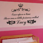 PERSONALISED PRINCESS once upon a time kids bedroom name quote wall art stickers