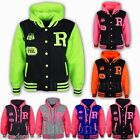 KIDS GIRLS BOYS NEON FLUORESCENT R FASHION BASEBALL HOODED JACKET HOODIE 7-13Yr