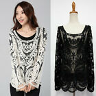 Chic Sexy Lady long Sleeve Embroidery Floral Lace Crochet Tee Top T Shirt Blouse