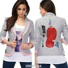 834 SEXY STYLISH JACKET 3/4 SLEEVED BUTTON PATCHWORK COTTON BLAZER INNMARK 6-14