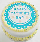 """Fathers Day Cake Topper - Happy Father's Day - 6.5"""" Round Icing Wafer Teal Blue"""
