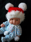 NEW BABY 0-3 MTH to 2 YRS PLAIN RED HAND CROCHET MARABOU POM POM HAT WINTER GIFT