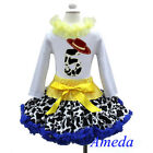 5th Birthday Cowgirl Pettiskirt Red Hat White Long Sleeves Top 2pcs Outfit 1-7Y