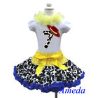 7th Birthday Cowgirl Pettiskirt Red Hat White Short Sleeves Top 2pcs 1-7Y