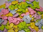 MIXED SEW THRU/THROUGH PASTEL GARDEN BUTTONS/EMBELLISHMENTS - FROGS/FLOWERS/BEES