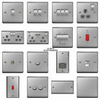 Brushed Steel Chrome Switches & Sockets - Full Matching Range BG Nexus