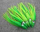 """Lot Of 5 Hoochie Squid Skirts Un Rigged Fishing Lures 4 3/4"""" - Green/Chartreuse"""