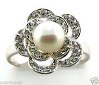 6.5-7MM White Freshwater Pearl CZ Ring, Flower Style, Sterling, Size 6,7, NEW