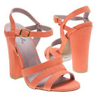 Coral Pink Open Toe Strappy Ankle Strap Slingback Chunky High Heel Sandal US5-10