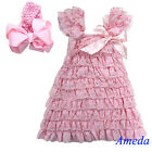 Light Pink Cap Sleeves Lace Ruffles Pettidress Princess Party Dress Bow Headband