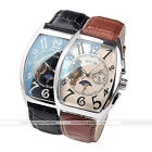 1pc Mens Tourbillon Moon Phase Auto Mechanical Analog Wrist Leather Band Watch