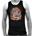 Dragon Oriental Tattoo Mens Black Sleeveless Muscle T Tank Top Sm - 2XL