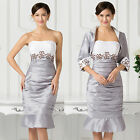 New Women's Elegant Grey Formal Prom Party Evening Short Ball Gown Wedding Dress