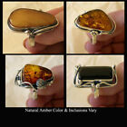 BALTIC HONEY or WHITE AMBER & STERLING SILVER LILY LEAF or FLOWER HANDMADE RING