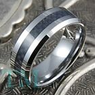 8mm Mens Tungsten Carbide Ring Black Carbon Fiber Inlay Wedding Band Size 6-15