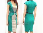 Womens Optical Illusion Peplum Stretch bodycon Business Party Pencil Dress