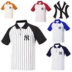 NewYork NY Yankees Baseball Stripe Polo Collar Tshirts sports wear Jersey Top A