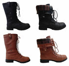 NEW Women's Fold Down Military Combat Mid Calf Lace Up Boots w/ Plaid Lining.