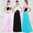 Bling one Shoulder Women Pageant Bridesmaid Evening Party Formal Prom Dress Gown