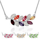 CR02 18K White Gold Plated Crystal Leaves Pendant Made with Swarovski Elements