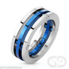Stainless Steel 8mm Men's Fancy Three Band Silver & Blue Colored Ring Size 8-14