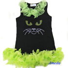 Halloween Rhinestone Kitty Cat Black One-Piece Lime Green Feather Party Dress