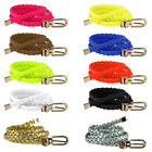 HOT Women Candy Color Braided Cross Buckle Waistband PU Leather Thin Skinny Belt