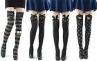 Japan Women Cute Stripe Bow Cat Mock Knee High Tattoo Stocking Pantyhose Tights