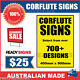 Custom Corflute Signs 900mm x 400mm x 5mm  - 700+ Designs