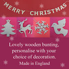 MERRY CHRISTMAS Wooden Letters Bunting/Garland/Sign Snowflake/Star/Reindeer/Tree