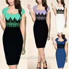 Womens Vintage Crochet Lace Square neck Bodycon Fitted Shift Party Pencil Dress