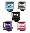 Square Spiral Stainless Steel Mens Earring Stud Silver Black Pink Purple or Blue
