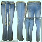 WOMEN'S NEW LADIES DENIM BELTED MISS POSH BOOTCUT FLARE DISTRESSED JEANS / 8-12