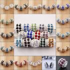 Silver CZ Crystal European Big Hole Beads Spacer Findings Fit Bracelet 18 Colors