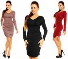 Sexy Stretch Bodycon Ruched Dress Long Sleeve V Neck UK 10-18 • US 8-16 886