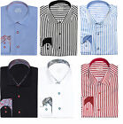 Mens Premium Tailored Cut Slim Shirt Contrast Collar M L XL 2XL Button Casual