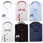 Mens Designer Cotton Formal Italian Slim Fit Shirt Contrast Collar S-4XL