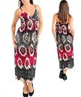 WOMEN'S PLUS SIZE MAXI DRESS SPAGHETTI STRAP IVORY, FUSHIA, BLACK, GREY