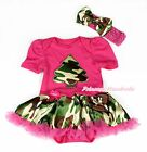 Infant Baby Girl Camouflage Tree Hot Pink Bodysuit Camouflage Skirt Dress NB-12M