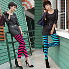 Women Sexy Stripe Tight Legging Skinny Nylon Footless Pants Blue and Red Color