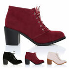 WOMENS LADIES HIGH HEEL BLOCK PLATFORM ANKLE LOW LACE UP BOOTS BOOTIES SIZE 3-8