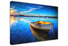 LANDSCAPE BLUE CANVAS PICTURE BOAT ON SEA AND SKY OIL PAINTING EFFECT PRINT