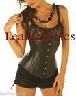 8380 Black Leather under bust Victorian Corset cupless mystic steel boned top