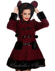 HELL BUNNY Black & RED Polka Dot~MiKa~Furry Bear Ears Coat 8-24 XS-4XL
