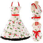 New Cherry Print 50s 60s Swing Halter Dress Pinup Vintage Rockabilly Retro Style