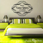 Love Story Vinyl Art Scrolls Home Wall Bedroom Room Quote Decal Sticker Decor