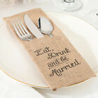 Lillian Rose Eat Drink and be Married Burlap Silverware Holder Set of 4